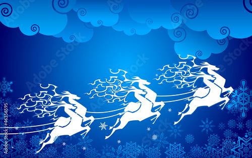 Reindeer pulling Sledge