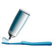 Set of blue toothbrush and toothpaste tube, Eps10