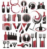 Set of wine icons, symbols, signs and logo designs