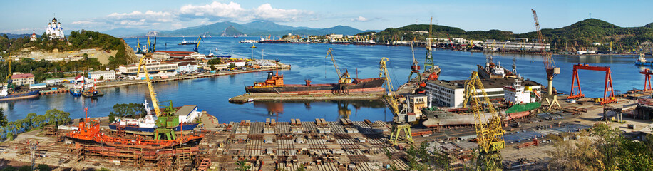 Slipway area, port Nakhodka, Russia. Panorama