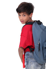 Pupil with backpack