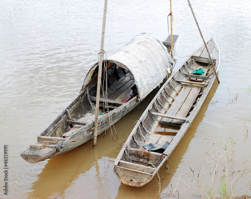 wooden boat on Mekong river