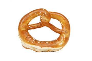 Crisp golden pretzel on white