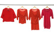 Four female clothing hanging on hangers