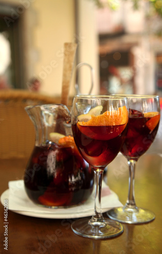 beverage sangria by the glass with fruits