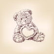 illustration of  teddy bear with  heart.