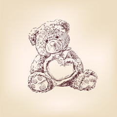 illustration of  teddy bear with  heart. © vladischern