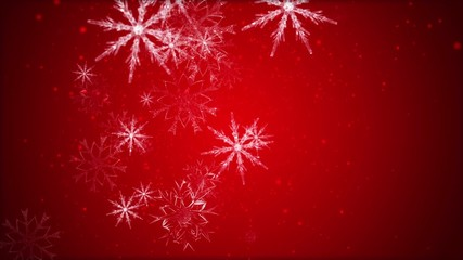 Large snowflakes are moving across a red background