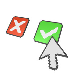 Abstract 3d pixelated arrow pointing on check mark