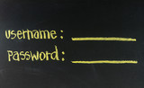 username and password written on blackboard poster