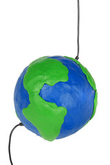 Plasticine globe with wires