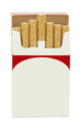 Cigarettes in opened cardboard box on a white background