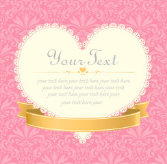 invitation vintage label vector frame pink