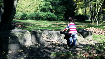 Young boy in autumn park, steadycam, slow motion