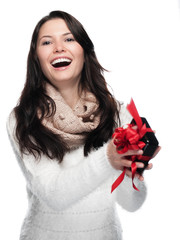 Young Lady catches a gift - isolated