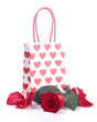 shopping bag and red rose