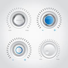 White volume knob set