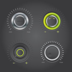 Volume knob set - vector
