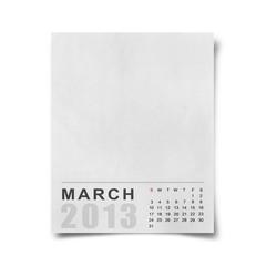 Calendar 2013 on blank note  paper .