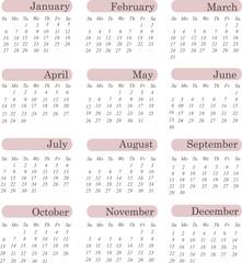 US style 2013 calendar