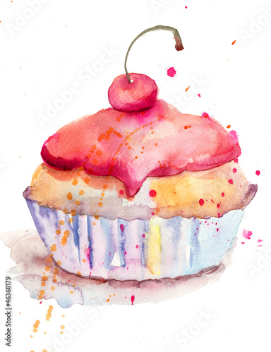 Poster Watercolor illustration of cake