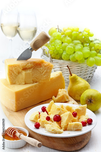 Parmesan cheese and fruits