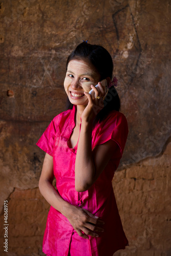 myanmar girl on mobile phone
