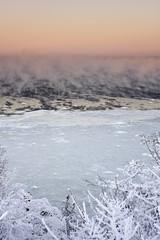 Steaming sea at cold winter morning