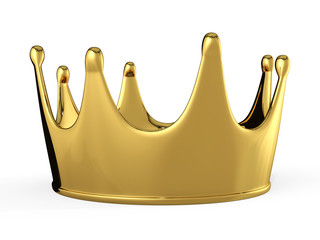 3d golden crown isolated on a white background