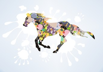 Vector decorative horse with splashes on a blue background
