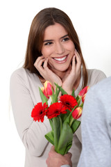 Woman receiving a bouquet