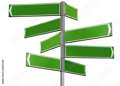Blank green direction sign with 8 arrows isolated on white