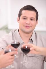 Man toasting with wine