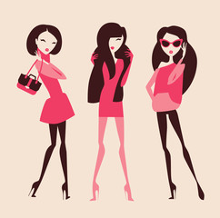 fashion girls in pink