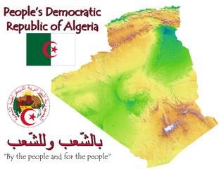 Algeria Africa national emblem map symbol motto