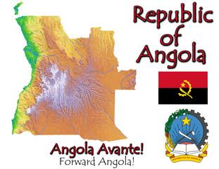 Angola Africa national emblem map symbol motto