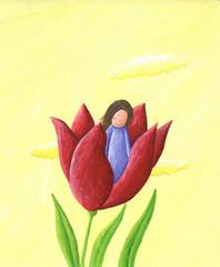 Thumbelina - girl in the flower