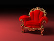 Royal red armchair with golden frame