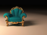 Royal modern armchair with golden frame