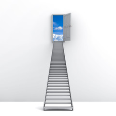 Ladder to the sky over white background
