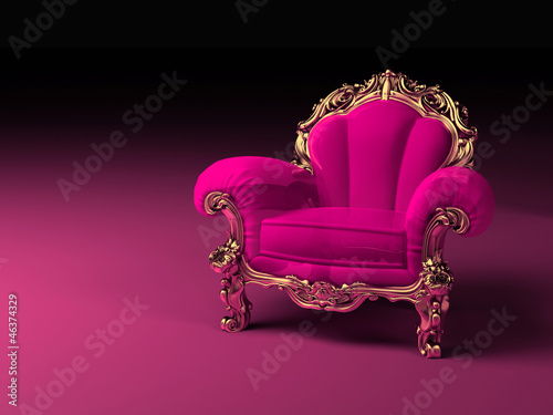 Luxury pink armchair with golden frame