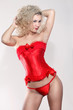 beautiful blonde in a red corset