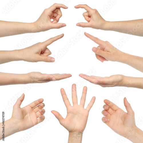 Collage of woman hands on white background