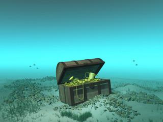 Cofre con tesoro en el fondo del mar