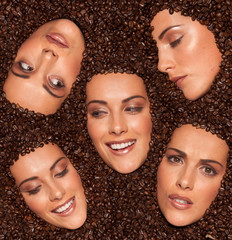 Collage of female facial expressions