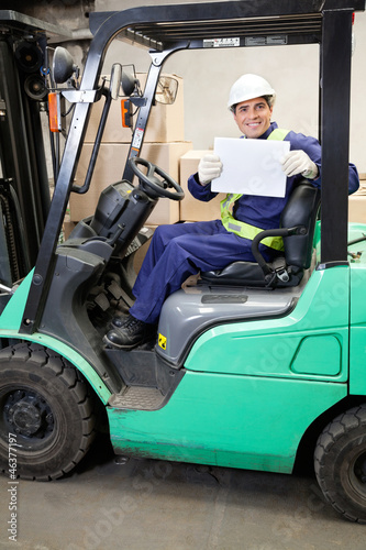Forklift Driver Displaying Blank Placard