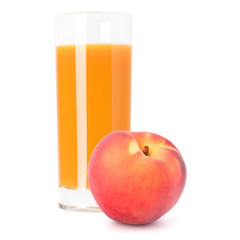 Juice glass and peach fruit