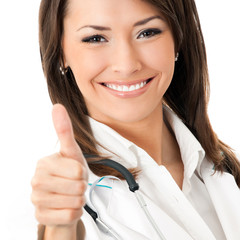 Doctor with thumbs up gesture, isolated