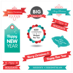 Christmas retro elements and labels
