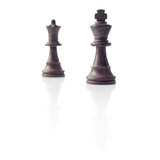 Chess. Black King and Queen, leadership concept on white backgro